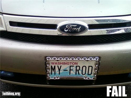 dyslexia,failboat,ford,g rated,license plate,spelling