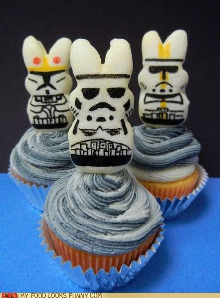 cupcakes frosting grey marshmallow peeps - 4898239488