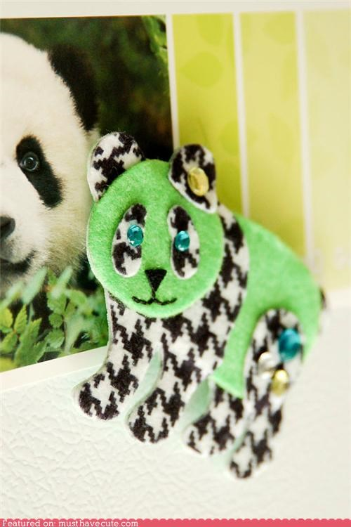 fridge houndstooth magnet neon panda - 4899377920