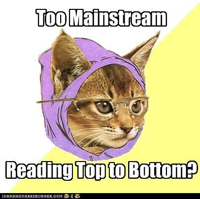 bottom,Hipster Kitty,left,mainstream,reading,right,up