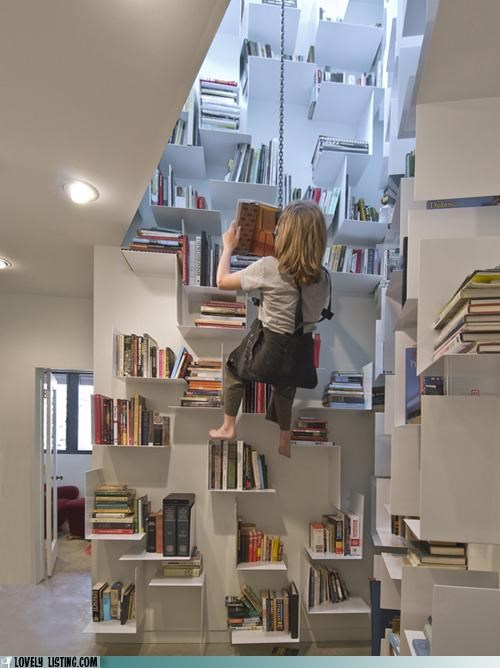 books,hang,library,pulley,read,rope,seat,shelves