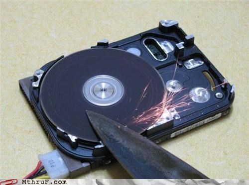 hard drive,knife,sharpener