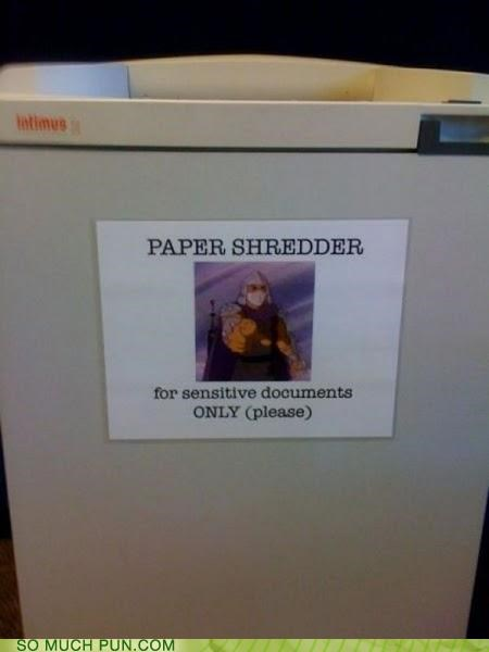 double meaning,paper,paper shredder,shredder,teenage mutant ninja turtles,triple meaning