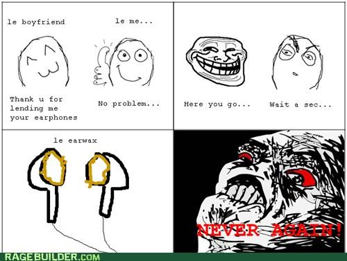 ear wax,earbuds,gross,Rage Comics