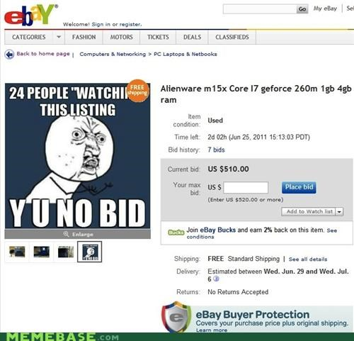 ebay internet IRL old sites watching Y U No Guy - 4900358144