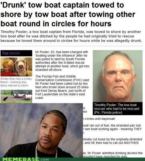 boat captain drunk ocean tow yo dawg - 4900417536