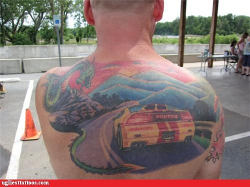 pontiac,cars,back tattoos,g rated,Ugliest Tattoos