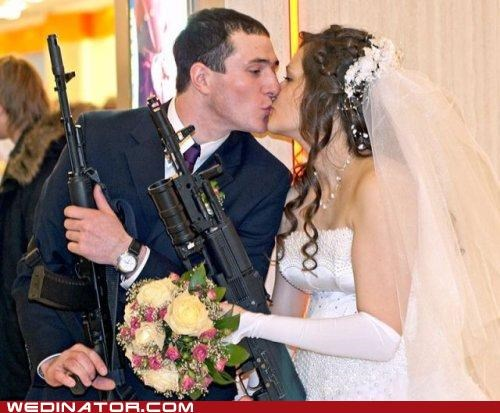 bride,funny wedding photos,groom,guns