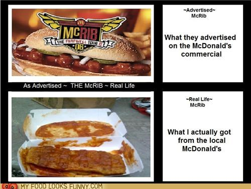 advertised,cult following,McDonald's,mcrib,nasty,reality