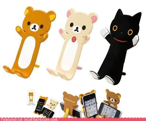 bear,cat,cell phone,phone,Rilakkuma,stand