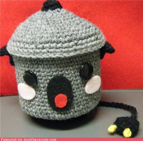Amigurumi,crochet,grey,rice cooker,yarn
