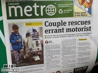 completely relevant news,newspaper,r2d2,rescue,star wars