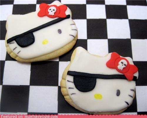 bow cookies epicute eye patch hello kitty Pirate skull - 4903557120