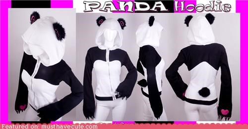 bear black and white clothing ears hoodie panda paws tail - 4903824896