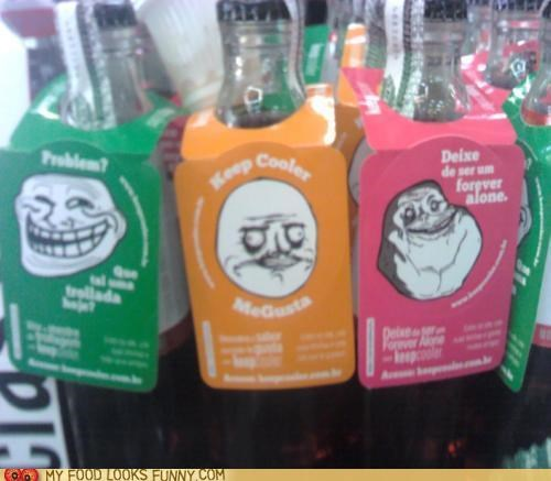 bottles,forever alone,labels,me gusta,meme,problem,soda,trollface