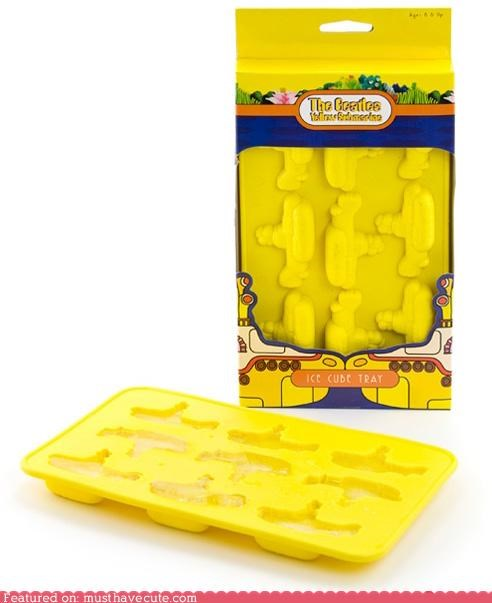 beatles,ice cube tray,ice cubes,yellow submarine