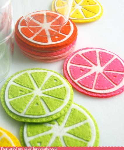 citrus,coasters,DIY,felt,How To,pattern
