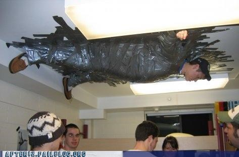 ceiling,duct tape,hanging out