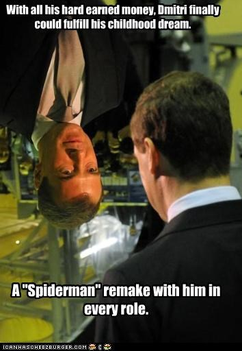 Dmitry Medvedev,political pictures,Spider-Man