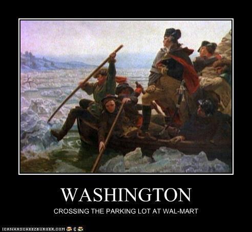WASHINGTON CROSSING THE PARKING LOT AT WAL-MART