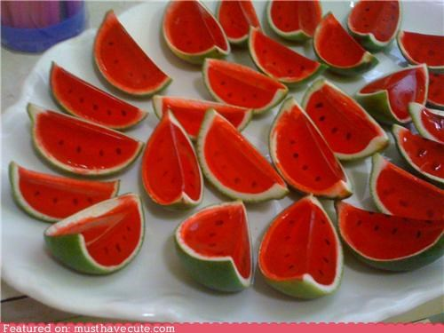 Mini 'watermelon' Jello slices