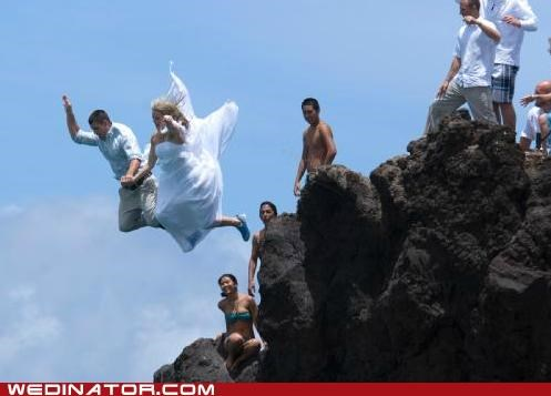 bride,funny wedding photos,groom,jump,ocean