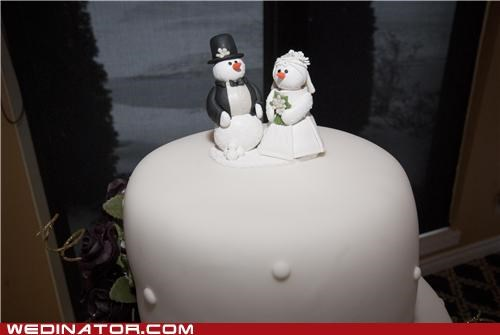 cake toppers,Canada,funny wedding photos,snowmen