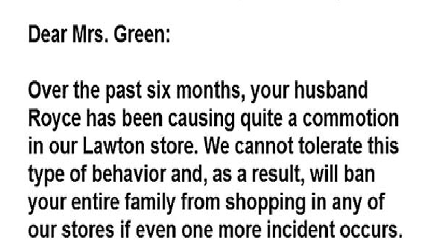 letters banning husband Walmart - 4907269
