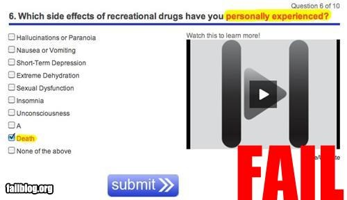 Shh!! Zombies Testing. A survey about drug usage on Health.com that someone forgot to proofread.