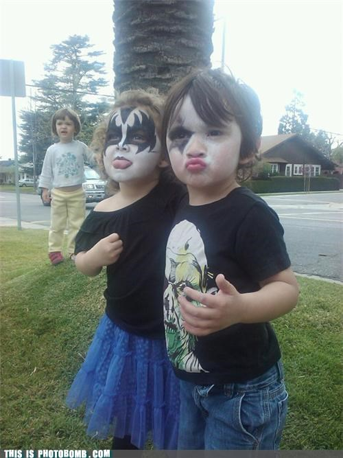 Babies face paint Kids are Creepers Too KISS third wheel
