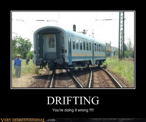 doing it wrong,drifting,hilarious,train