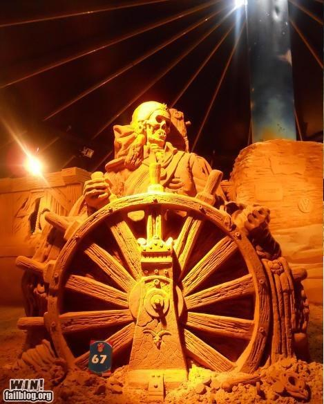 awesome pirates sand sculptures