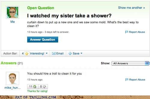 bait and switch,mold,shower,sister,Yahoo Answer Fails