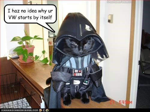 autonomy,caption,captioned,cat,costume,darth vader,denial,dressed up,no idea,starts,VW