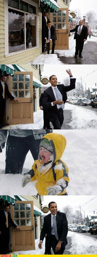 baby face palm obama snow snowball throw - 4910340352