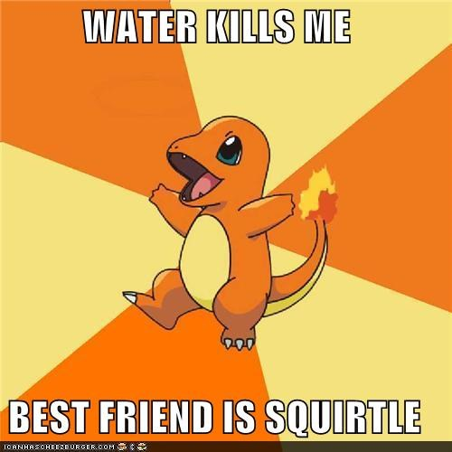 charmander,fire type,squirtle,water type