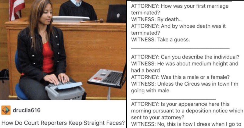 Collection of ridiculous excerpts from court reporters that will make you laugh and cringe at the same time.