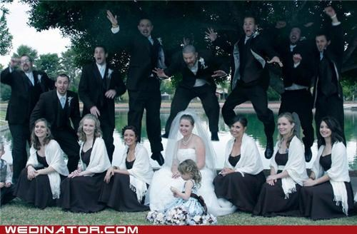 funny wedding photos,groom,Groomsmen,jump,pounce