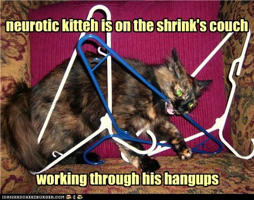 captioned couch hanger hangups neurotic psychologist pun shrink through working