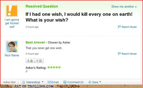 Death kill wishes Yahoo Answer Fails - 4912096512