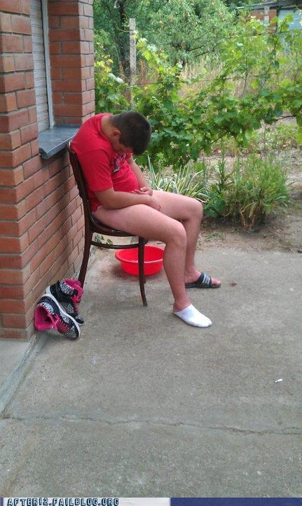 chair,pantsless,passed out,sandals,socks