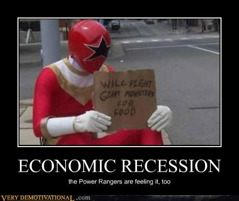hilarious homeless power rangers recession sign wtf