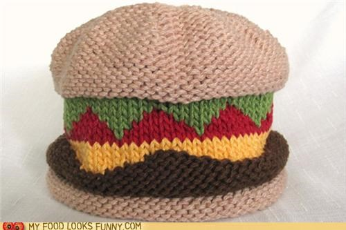 beanie burger cap cheeseburger hat Knitted - 4913282816