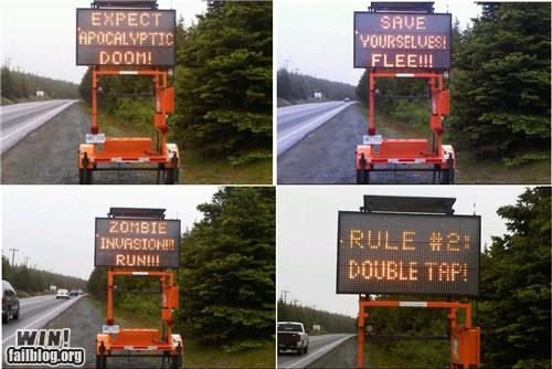 Hall of Fame,oh canada,road signs,warning,zombie