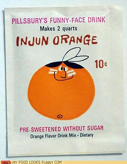 indian injun kool aid mix orange drink racist - 4913380352