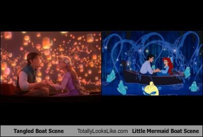 Tangled Boat Scene Totally Looks Like Little Mermaid Boat Scene