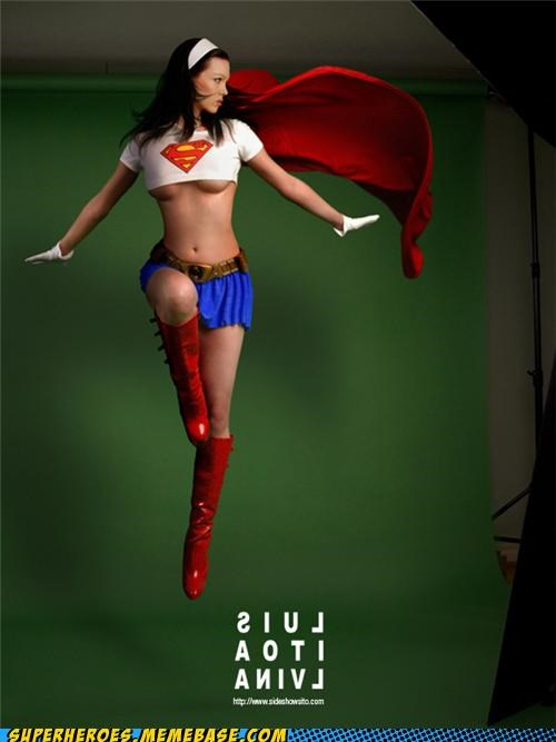 model photography Sexy Ladies Super Costume supergirl underboob - 4913419008