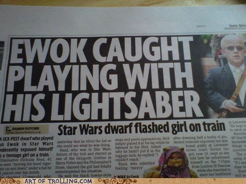 ewok,FAIL,lightsaber,news,star wars