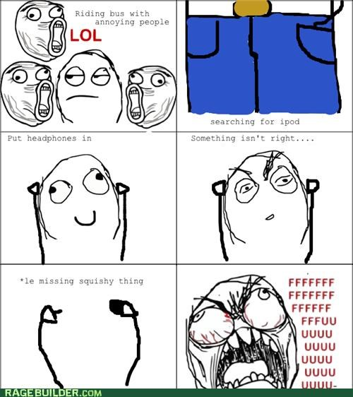 bus,earbuds,headphones,ipod,Rage Comics