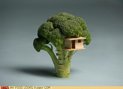 art,broccoli,house,miniature,sculpture,treehouse